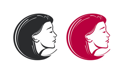 Beauty salon, spa, barbershop logo. Beautiful young woman label or icon. Vector illustration