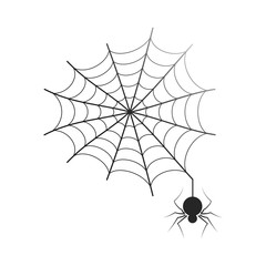 Black thin neat web with small spider isolated cartoon flat vector Illustration on white background.