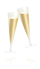Champagne glasses - toast and cheer, happy new year - isolated vector illustration on white background.