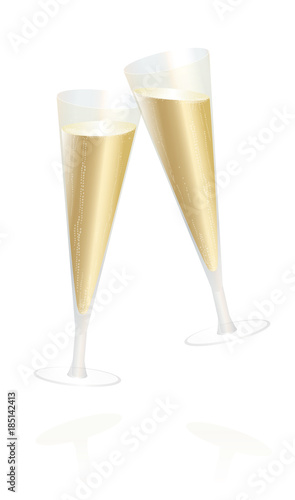 Champagne glasses - toast and cheer, happy new year - isolated ...