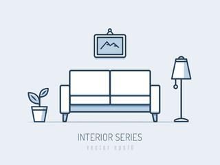 Interior and furniture series. Sofa monoline vector illustration