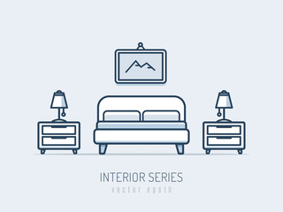 Interior and furniture series. Bedroom with bed and night tables monoline vector illustration