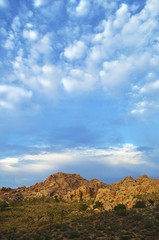 High angle scenic view of mountains against cloudy sky at Joshua Tree National Park