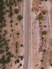 Overhead view of country road amidst desert