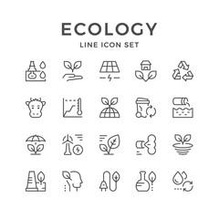Set line icons of ecology