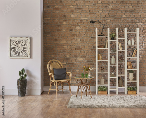 Stone Wall Concept And Brick Background Modern Bookshelf Style With Book Vase Of Flowers