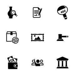 Set of simple icons on a theme Auction, vector, design, collection, flat, sign, symbol,element, object, illustration, isolated. White background