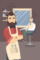 People at barber shop.