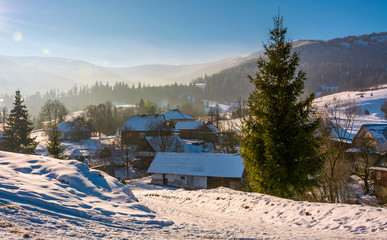village in mountainous area in winter carpathian landscape. location Pylypets, Ukraine