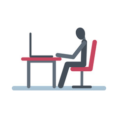 Stick figure sits at  table with a laptop.
