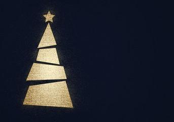 golden glitter christmas tree - elegant xmas background ( holiday , merry , happy new year , eve )