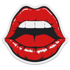 Opened Lips Sticker Template