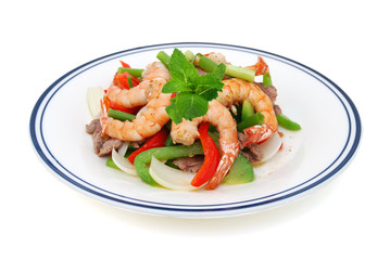 Stir fried vegetables and shrimp, beef on white