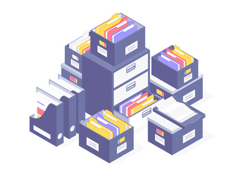 Office paperwork. Office paper document and file folders. Vector illustration