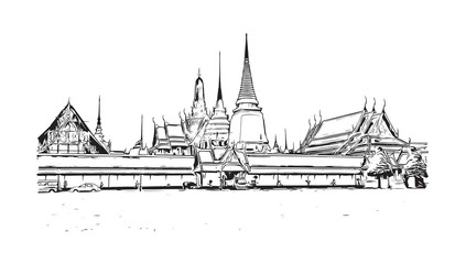 Wat Phra Kaew, the most sacred Buddhist temple in Thailand. Hand drawn sketch in vector illustration.