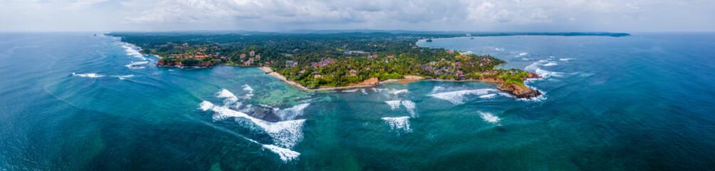 Fototapete - Aerial panorama of the south coast of Sri Lanka, area near the town of Weligama