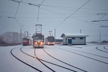 Trams in heavy snowfall