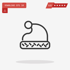 Outline Santa Claus hat icon isolated on grey background. Symbol