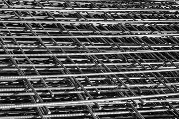 wire mesh. of concrete pouring. / Depth of field concept.
