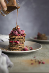 Chocolate Raspberry Pancakes Stack