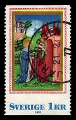 Virgin Mary visiting st. Elizabeth, medieval book-painting