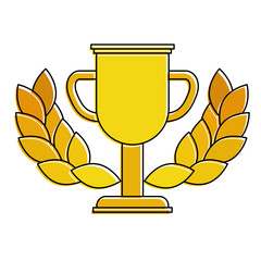 trophy cup winner with wreath vector illustration design
