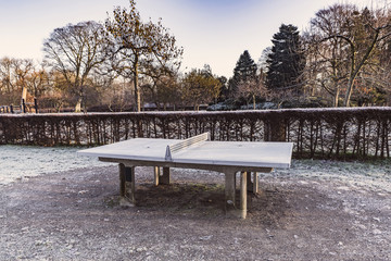 Outdoor table tennis made of concrete