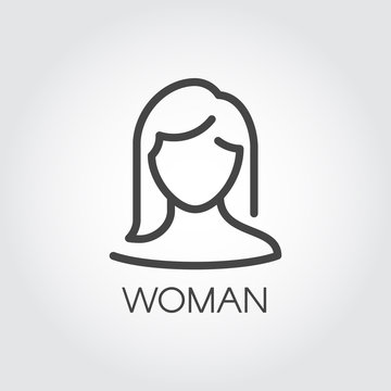 Abstract portrait of woman linear icon. Cosmetology, female avatar or user concept. Silhouette of human portrait with straight hair. Simplicity illustration in outline style. Vector graphic label
