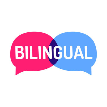 Bilingual. Two vector speech bubbles icons, illustration on white background. Concept for language school.