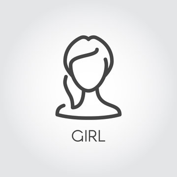 Abstract portrait of girl linear icon. Cosmetology, female avatar or web user concept. Silhouette of human portrait. Simplicity label in outline style. Vector illustration