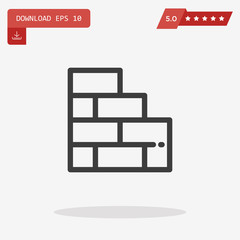 Outline Wall brick Icon isolated on grey background for web site