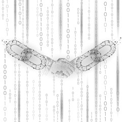 Handshake low poly. Blockchain internet technology e-commerce business agreement partnership meet. Polygonal geometric particle hand. Innovation future binary code background vector illustration