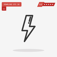 Outline lightning icon isolated on grey background. Line bolt sy