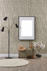 modern stone wall and frame decoration with suitcase