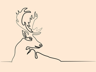Continuous line different width drawing. Christmas reindeer. Vector illustration