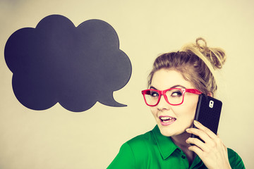 Business woman talking on phone with thinking bubble