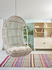 decorative bamboo swing chair modern penthouse style decoration