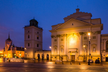 St. Anne church at night on the castle square in Warsaw, Poland Wall mural