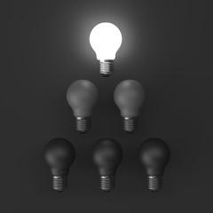 3D illustration Idea Design Concept, Brightness Bulb on black.