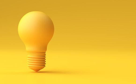 Minimal Idea Design Concept Yellow bulb on yellow pastel background.