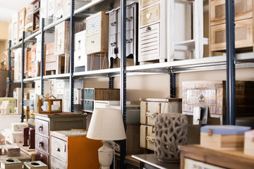 Furniture shop with exclusive furniture for interior