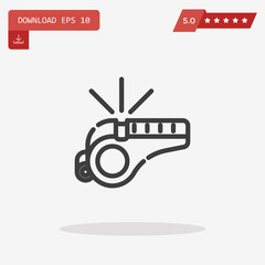 Whistle Icon in trendy flat style isolated on grey background. V