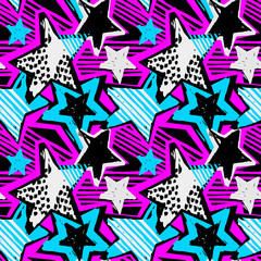 Star shapes graffiti seamless hand craft expressive ink hipster pattern