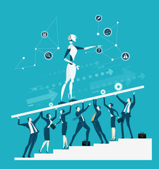 Group go business people holding up the platform with robot. New era of artificial intelligence controlling, supporting, making decisions and creating ideas.