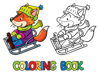 Funny fox rides on sleigh or sled. Coloring book