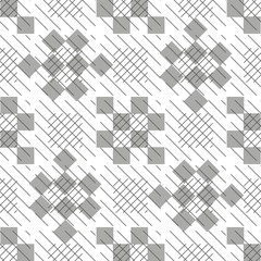 Monochrome seamless pattern, black & white geometric texture with simple figures, rhombuses. Abstract raster endless background, repeat tiles. Luxury design element for prints, decoration, textile