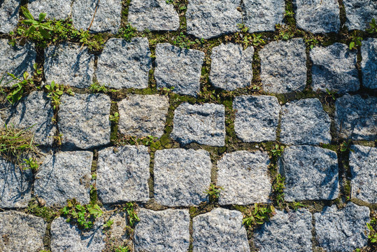 texture of the stone tiles overgrown with moss top view stone background wallpaper backdrop