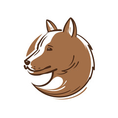Dog logo or icon. Animal, pet, puppy, wolf emblem. Vector illustration