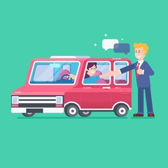 Car on a tray.Buy or rental car concept with flat icons. Car loan vector illustration