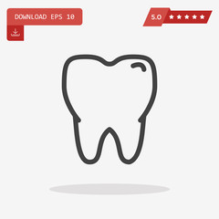 Tooth Icon in trendy flat style isolated on grey background. Too